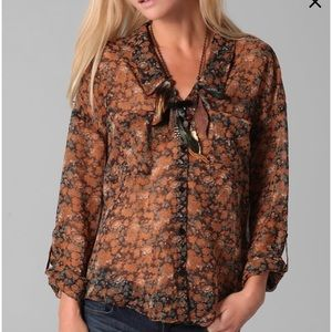 Free People Floral Easy Rider Button Down Blouse